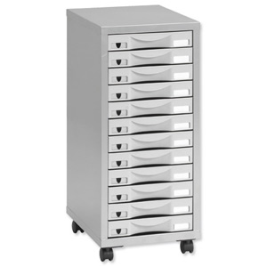 433692 Pierre Henry Multi Drawer Storage Cabinet Steel 12 Drawers  W300xD390xH710mm Silver And Grey Ref 095072