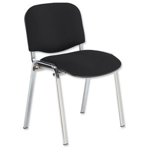 Conference Stacking Chair Upholstered W480xD420xH500mm Black 438150